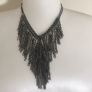 Chain link necklace with rhinestone accents